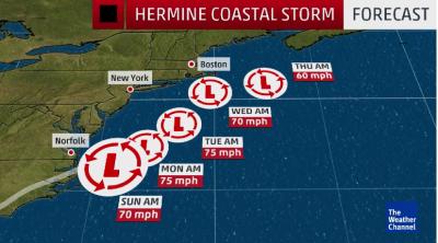 Coast storm Hermine damage forecast.