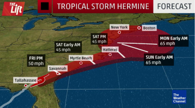 Storm Hermine effected coasts forecast.